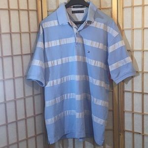 Tommy Hilfiger Polo, XL, Blue with White stripes